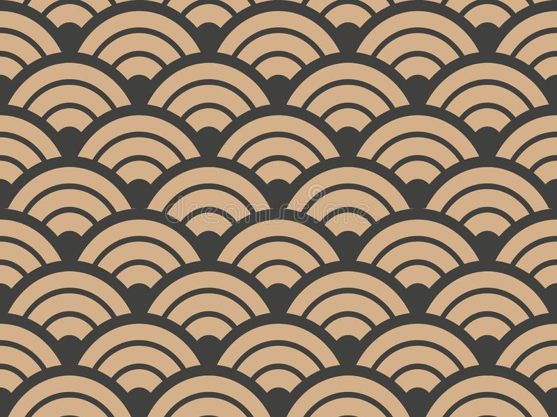Vector damask seamless retro pattern background geometry round curve cross scale frame. Elegant luxury brown tone design for royalty free illustration