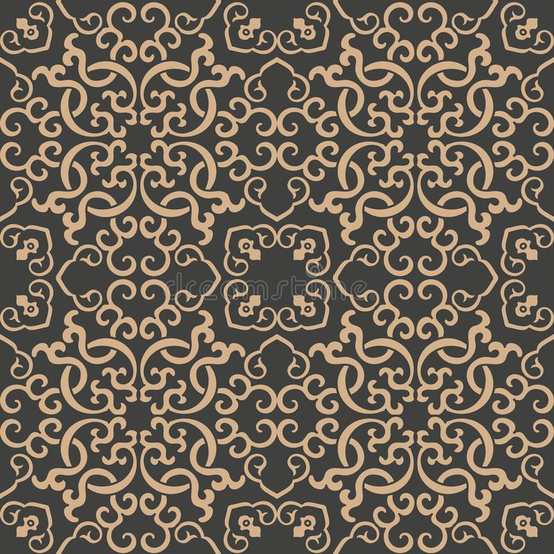 Vector damask seamless retro pattern background oriental spiral curve cross frame chain vine. Elegant luxury brown tone design for. Wallpapers, backdrops and royalty free illustration
