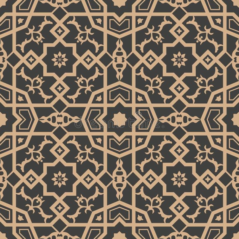 Vector damask seamless retro pattern background polygon geometry cross frame flower kaleidoscope. Elegant luxury brown tone design royalty free illustration