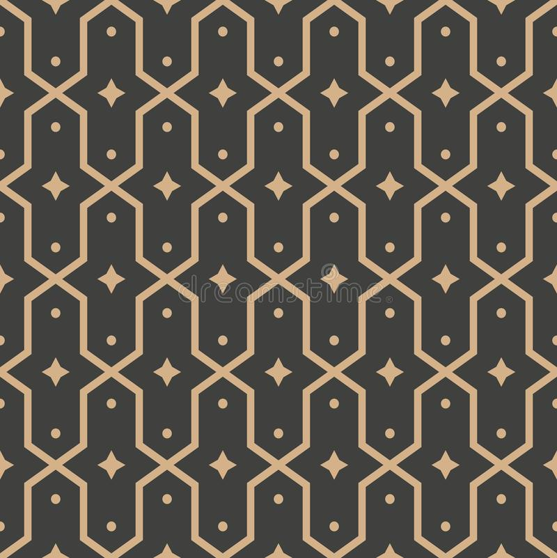Vector damask seamless retro pattern background polygon geometry cross frame star kaleidoscope. Elegant luxury brown tone design. For wallpapers, backdrops and vector illustration