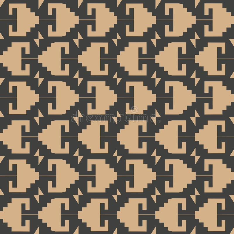 Vector damask seamless retro pattern background polygon geometry sawtooth cross frame line. Elegant luxury brown tone design for. Wallpapers, backdrops and page vector illustration