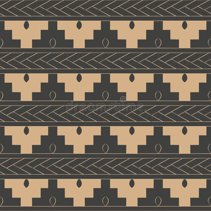 Vector damask seamless retro pattern background polygon geometry sawtooth cross frame line. Elegant luxury brown tone design for. Wallpapers, backdrops and page stock illustration