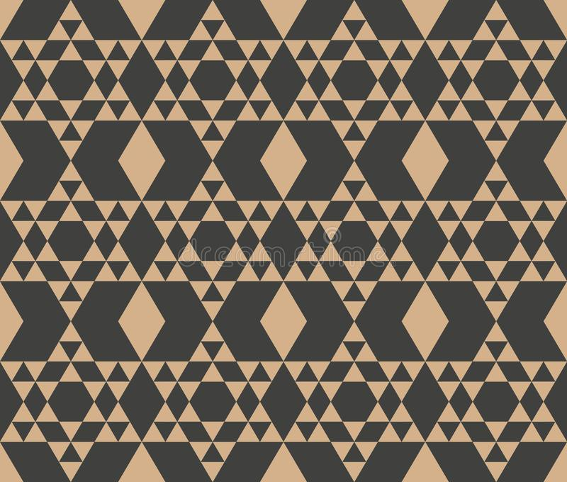 Vector damask seamless retro pattern background polygon geometry triangle cross frame check. Elegant luxury brown tone design for royalty free illustration