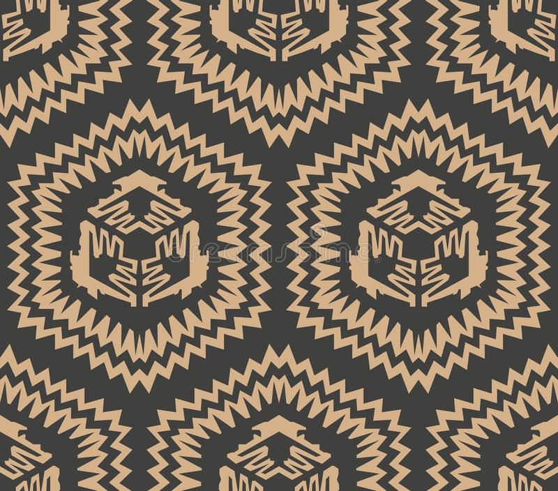 Vector damask seamless retro pattern background polygon sawtooth geometry cross frame. Elegant luxury brown tone design for. Wallpapers, backdrops and page fill vector illustration