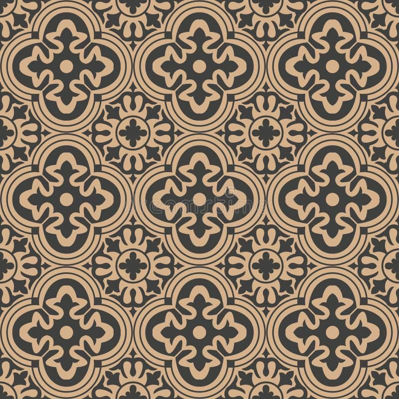 Vector damask seamless retro pattern background round curve cross frame flower kaleidoscope. Elegant luxury brown tone design for royalty free illustration
