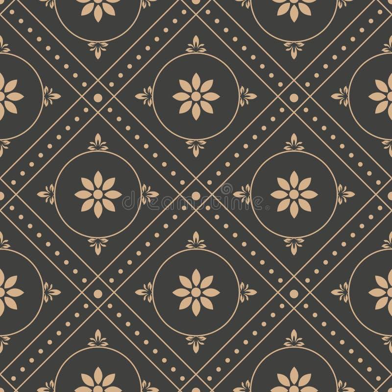 Vector damask seamless retro pattern background round geometry check cross frame dot line flower. Elegant luxury brown tone design. For wallpapers, backdrops stock illustration