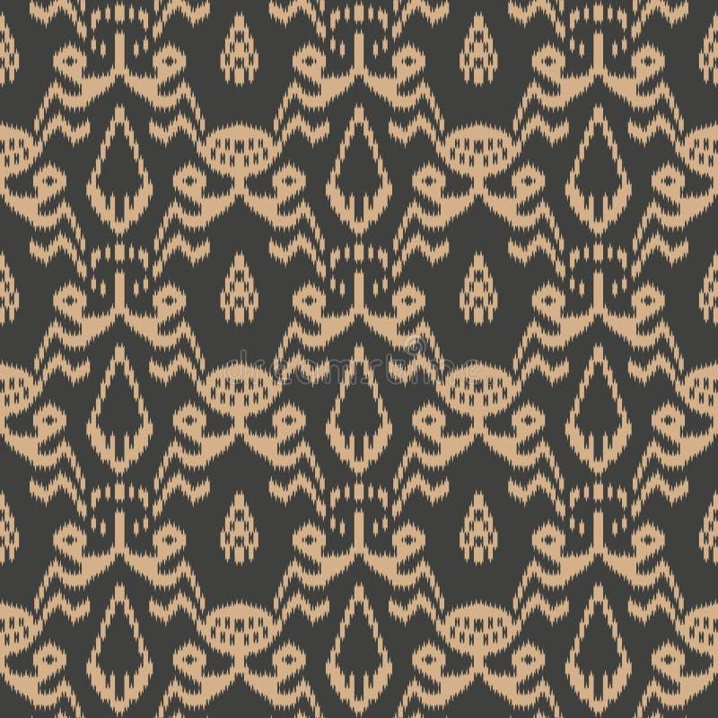 Vector damask seamless retro pattern background sawtooth botanic garden cross plant leaf frame flower. Elegant luxury brown tone. Design for wallpapers royalty free illustration