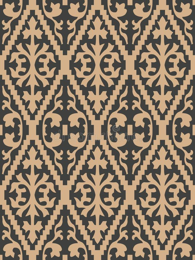 Vector damask seamless retro pattern background sawtooth check cross plant leaf frame. Elegant luxury brown tone design for. Wallpapers, backdrops and page fill vector illustration