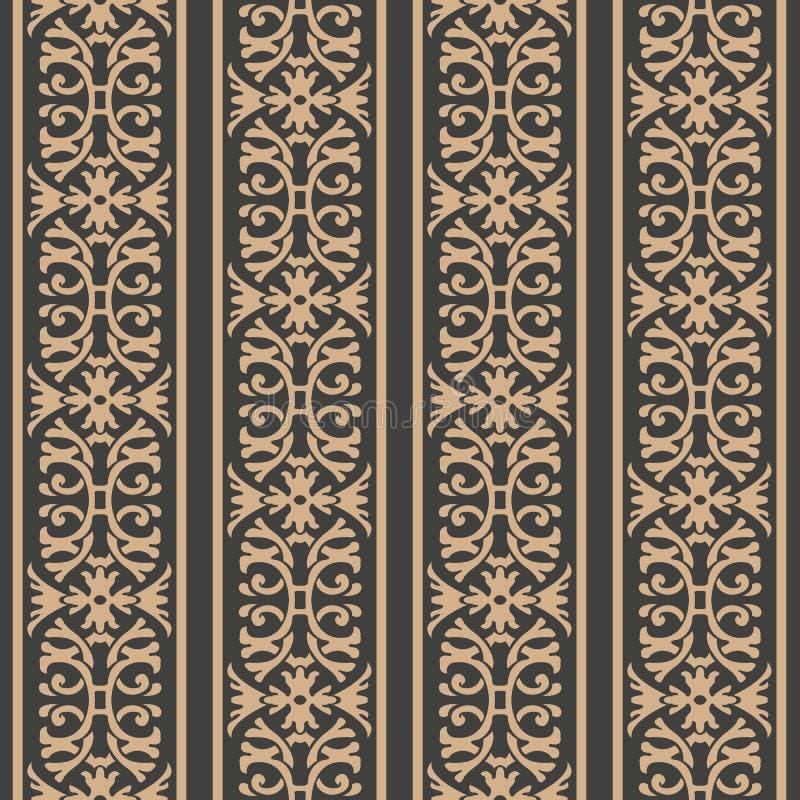 Vector damask seamless retro pattern background spiral curve cross frame chain leaf vine flower crest line. Elegant luxury brown. Tone design for wallpapers royalty free illustration