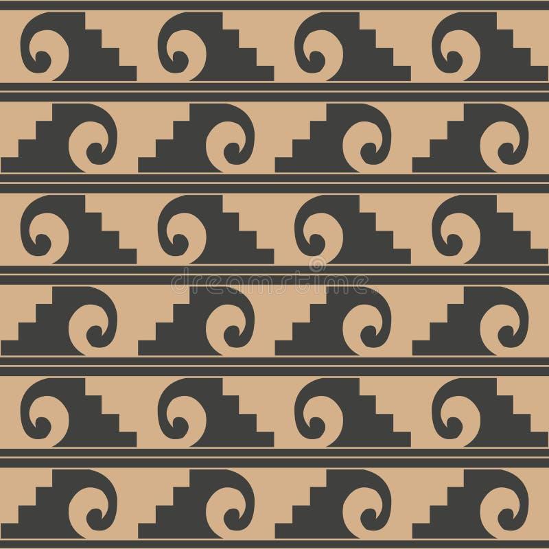 Vector damask seamless retro pattern background spiral vortex curve wave cross sawtooth frame line. Elegant luxury brown tone. Design for wallpapers, backdrops vector illustration