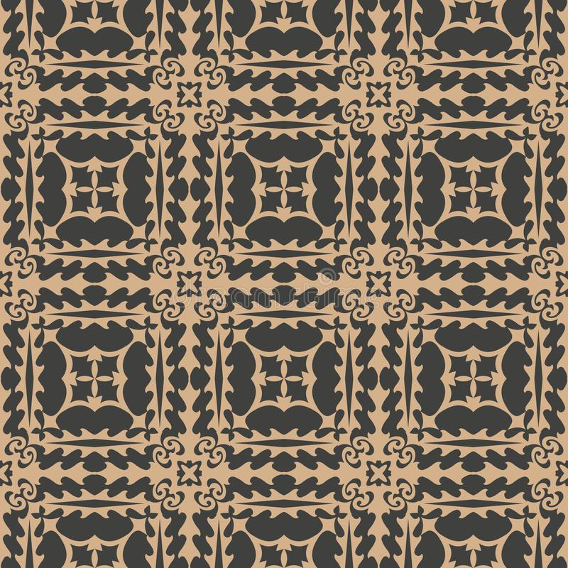 Vector damask seamless retro pattern background square sawtooth cross frame line. Elegant luxury brown tone design for wallpapers. Backdrops and page fill stock illustration
