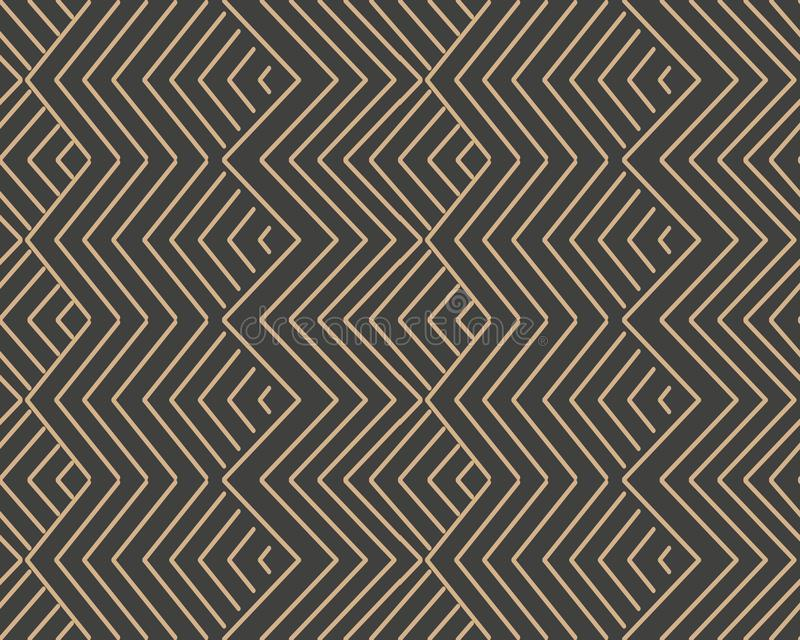 Vector damask seamless retro pattern background triangle spiral geometry cross sawtooth wave frame line. Elegant luxury brown tone. Design for wallpapers royalty free illustration