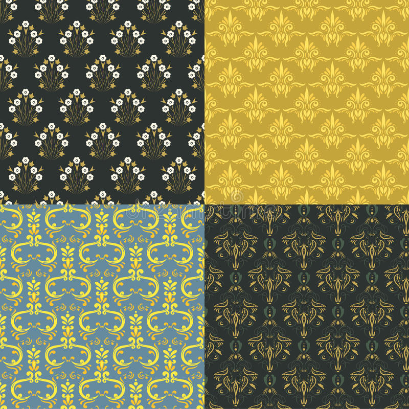 Vector damask vintage seamless pattern background. Vector damask seamless pattern. Elegant luxury vintage texture for wallpapers, backgrounds and page fill stock illustration