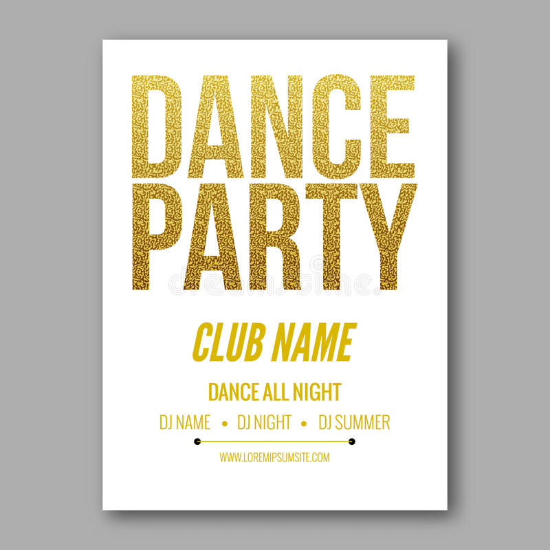 Vector dance party flyer golden style template royalty free illustration