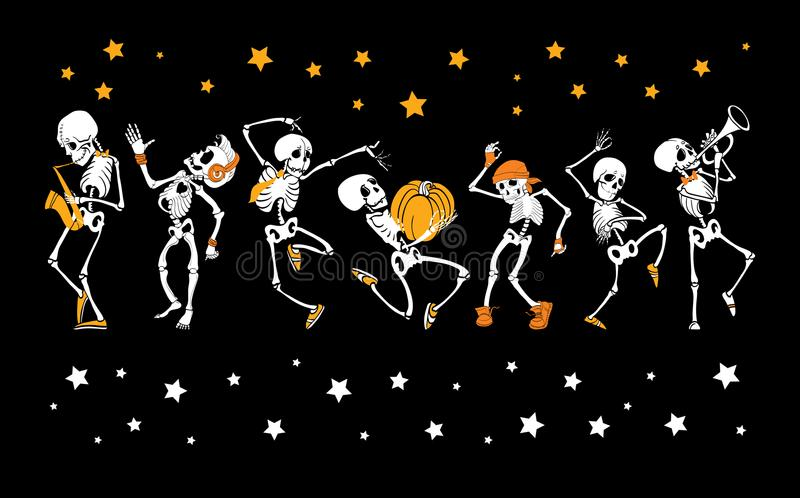 Vector dancing and musical skeletons Haloween set collection. Great for spooky fun party themed designs, gifts stock illustration