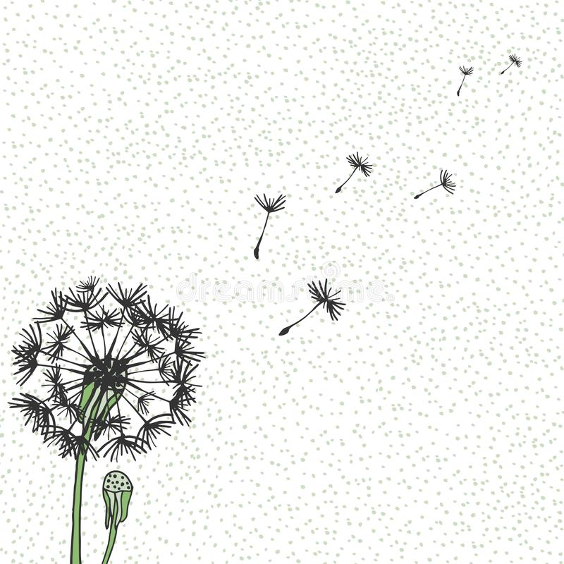 Free Vector Dandelion, Hand Drawing. Flying Blow Dandelion Buds Black Outdoor Decoration On A Background Speckled Stock Images - 139820314
