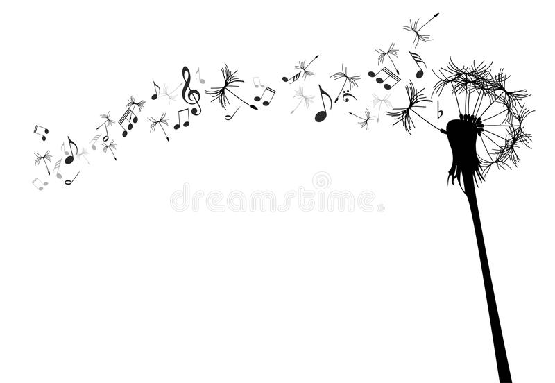Vector dandelion. With music notes against the white stock illustration