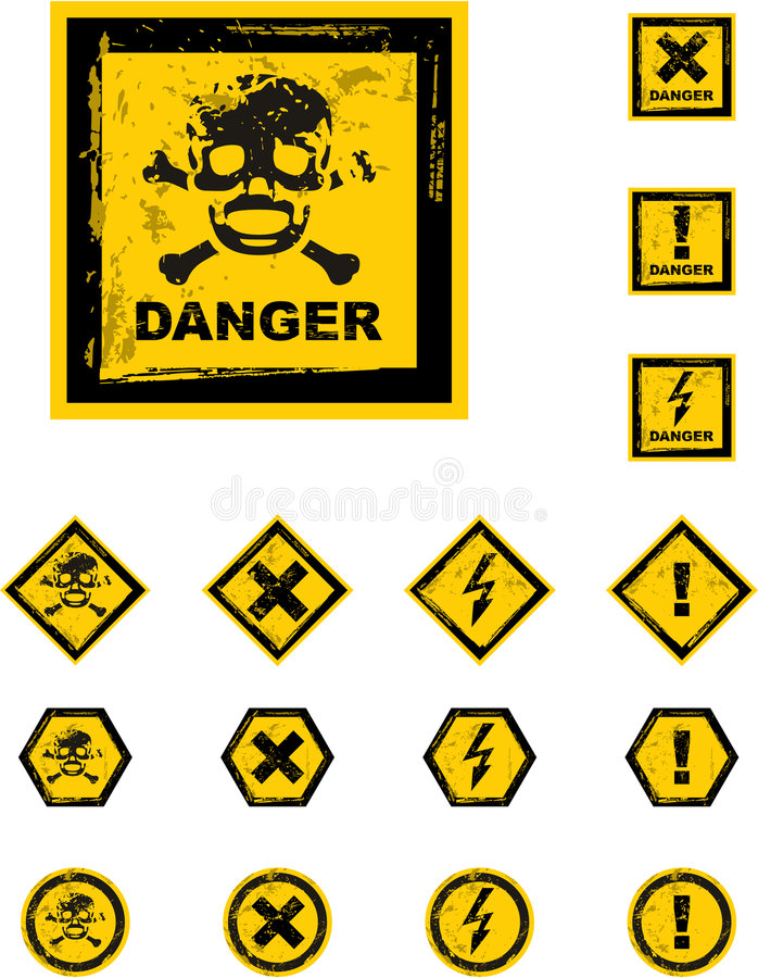 Download The Vector Danger Grunge Buttons Royalty Free Stock Image - Image: 8544086