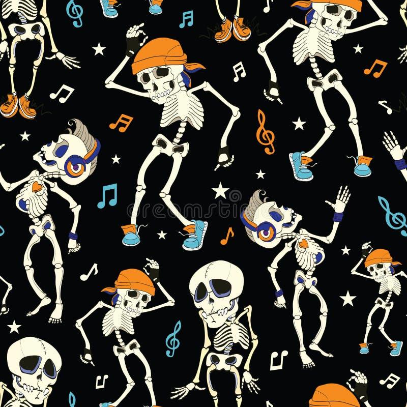 Vector Dansende Skelettenpartij Naadloos Halloween royalty-vrije illustratie