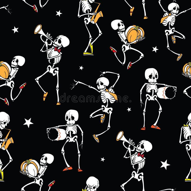 Vector dark black dancing and plating music skeletons royalty free illustration