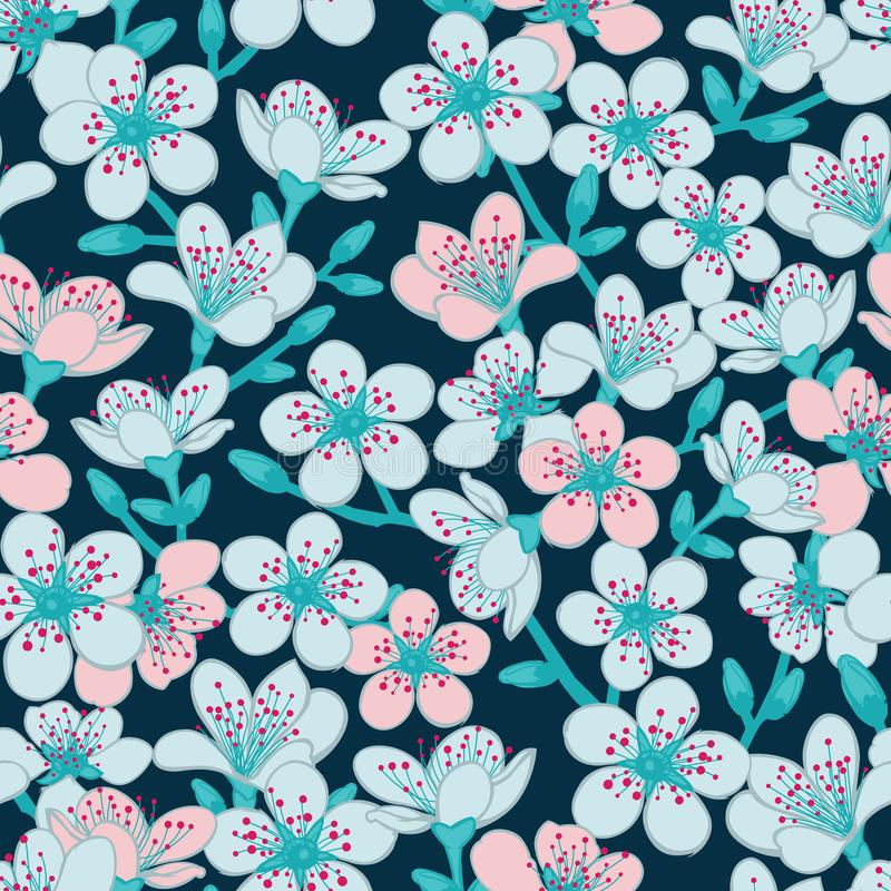 Vector dark blue cyan background with light blue and light red cherry blossom sakura flowers seamless pattern background vector illustration