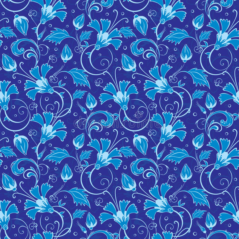 vector dark blue turkish floral seamless pattern stock