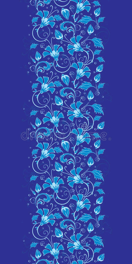 Vector dark blue turkish floral vertical border vector illustration