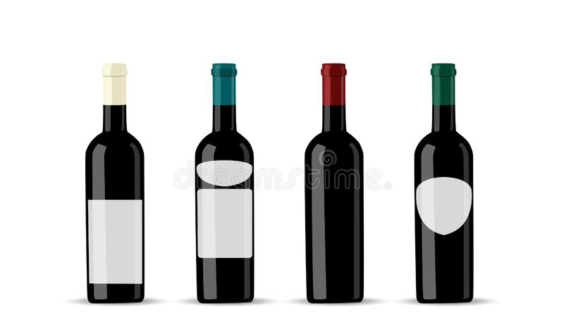 Vector dark bottle set template. Empty label for packaging design. royalty free illustration