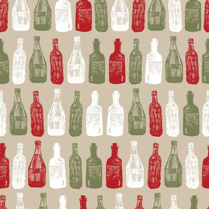 Vector beige baritalia colorful wine bottles sketch illustration seamless pattern. Perfect for fabric, restaurant menu vector illustration