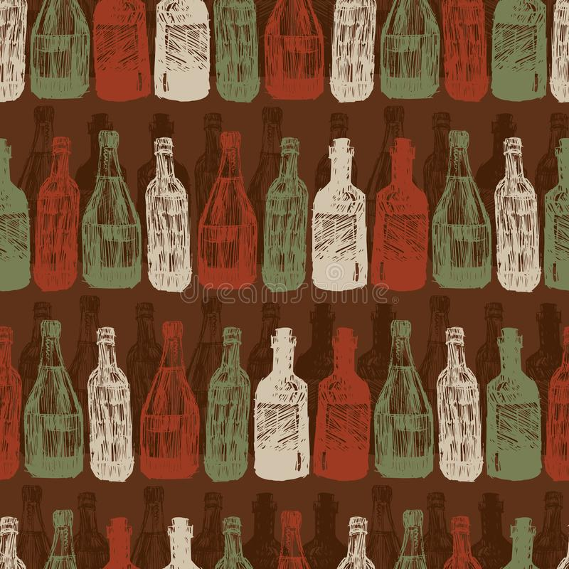 Vector dark brown baritalia colorful wine bottles sketch illustration seamless pattern. Perfect for fabric, restaurant royalty free illustration