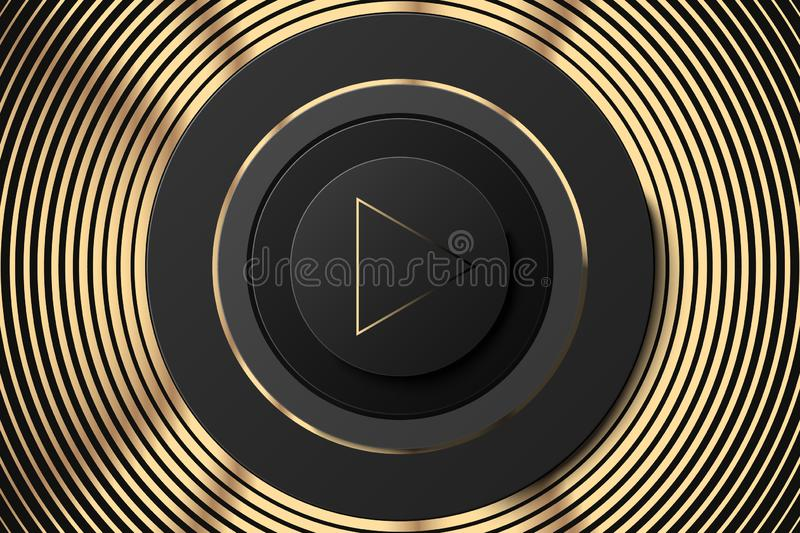 Vector dark circle icon with play button. Black and gold speaker illustration. Black golden music background. royalty free illustration
