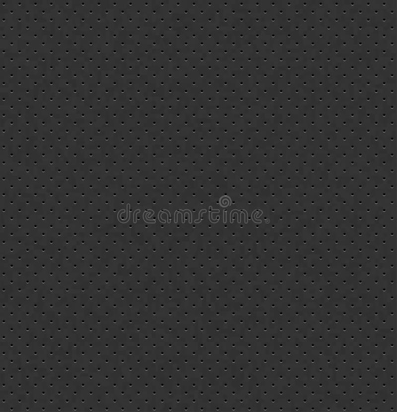 Vector dark gray perforated leather seamless texture. Realistic charcoal perforated background. Black dotted pattern. Car seat. Material design. Endless web stock illustration