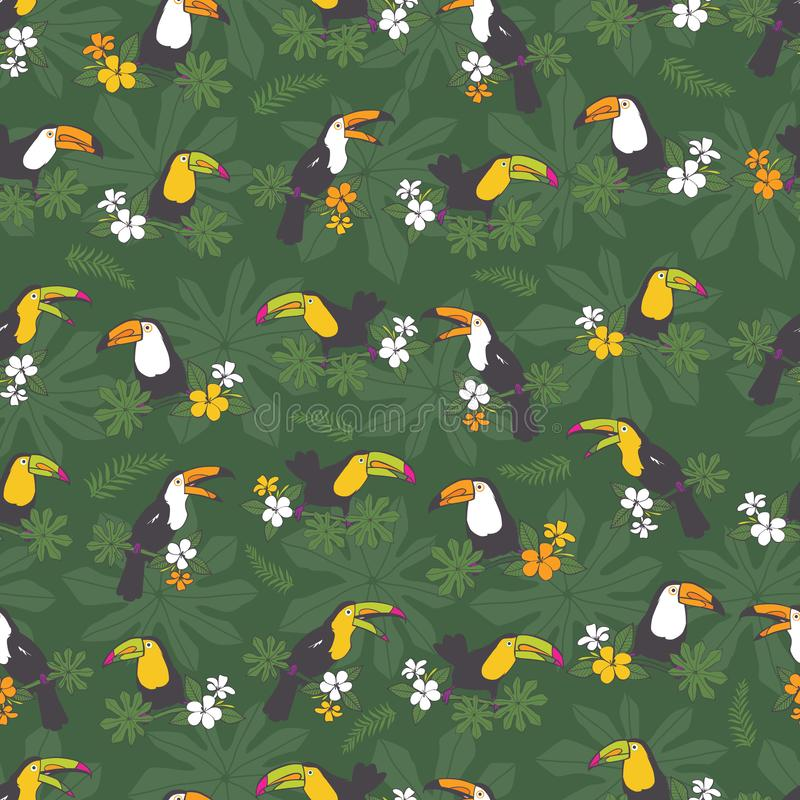 Vector dark green tropical birthday party seamless pattern background. With toucan birds.Perfect for fabric, scrapbooking, royalty free illustration