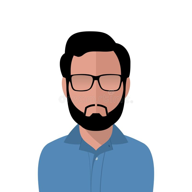 Vector dark hair man in a blue shirt royalty free stock images