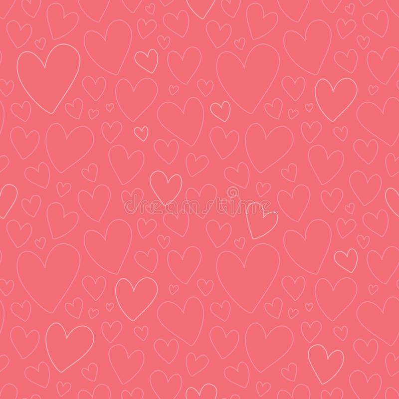 Vector Dark Pink Oulined Hearts Seamless Pattern stock illustration