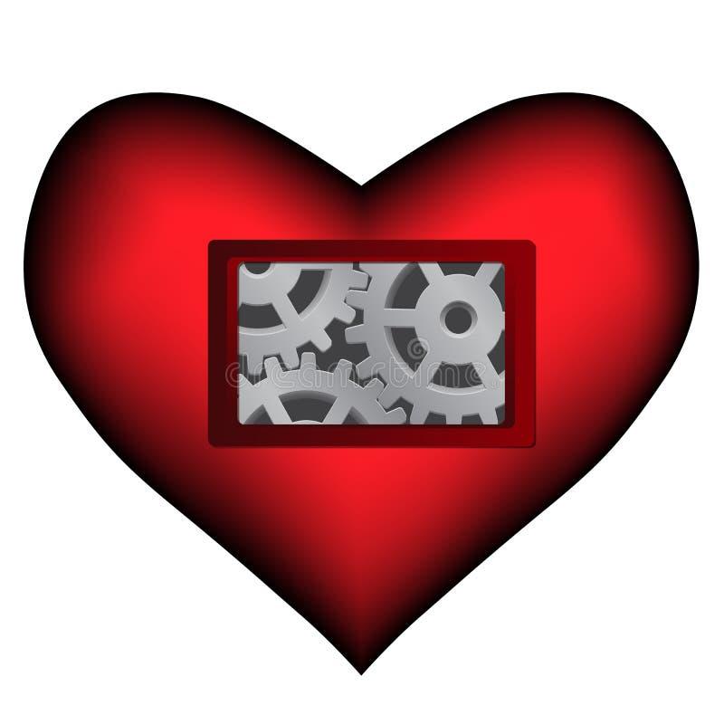 Vector dark red heart with mechanical inside. Vector dark red heart with mechanical cogwheels gear inside vector illustration