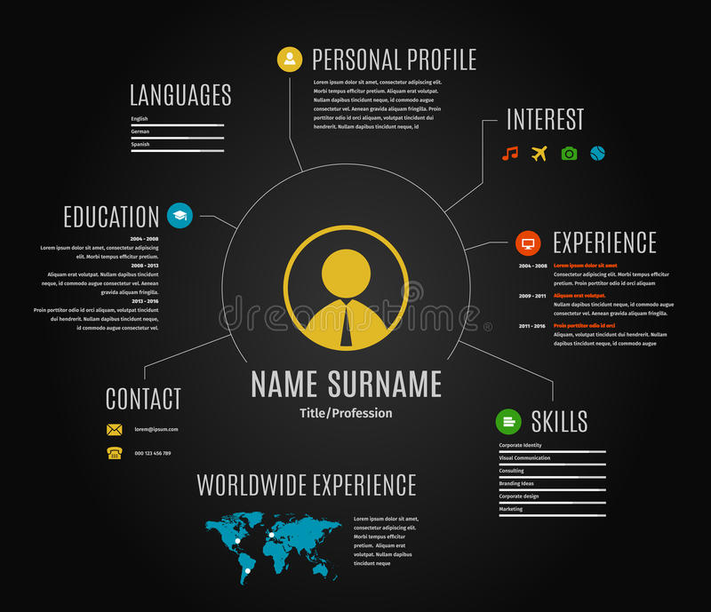 vector dark resume web infographic template  stock vector