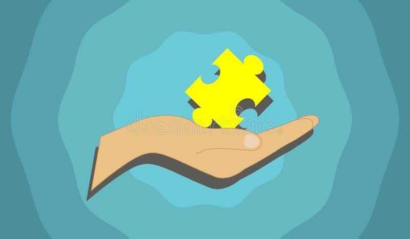 Vector das Bild, das ein Puzzlestück darstellt, das in der Hand gehalten wird stockfotografie