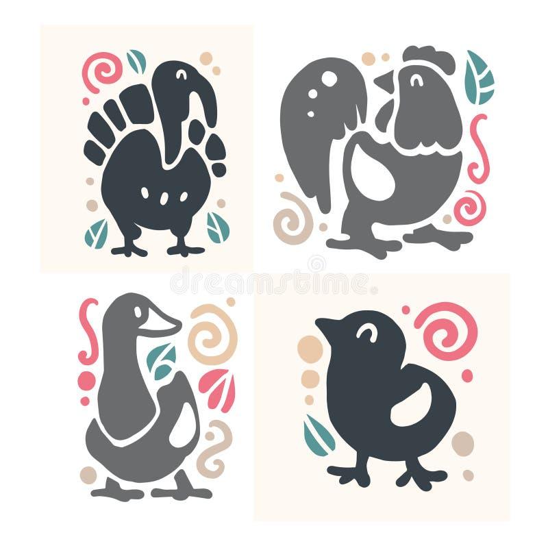 Vector das flache nette lustige Hand gezeichnete Tierschattenbild, das auf weißem Hintergrund - Truthahn, junger Hahn, Gans und H stock abbildung