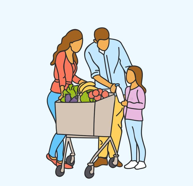 Vector das glückliche Familieneinkaufen der Illustration mit Kinder- und des Warenkorbeskaufendem Lebensmittel an Lebensmittelges vektor abbildung