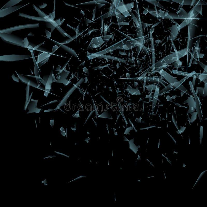 Vector das Glasexplosionskonzept, das auf schwarzem Hintergrund lokalisiert wird Viele blauen scharfen Stücke, die nach dem Zufal stock abbildung