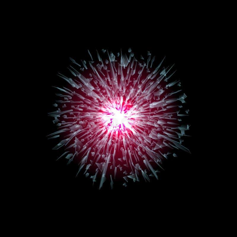 Vector das Glasexplosionskonzept, das auf schwarzem Hintergrund lokalisiert wird Viele roten scharfen Stücke, die nach dem Zufall stock abbildung
