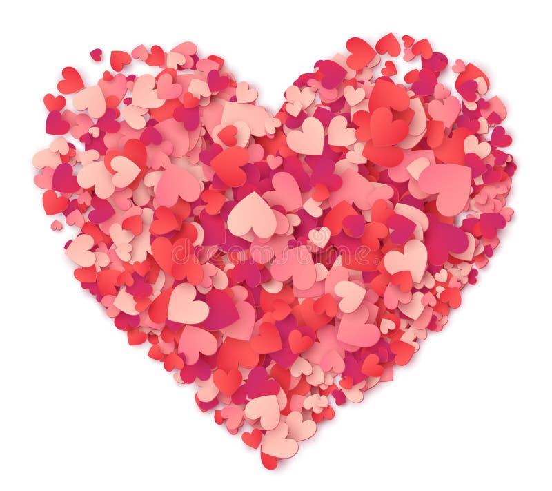 Vector das große Herz, das von den rosa Herzformen und von den roten Konfettis auf Weiß gemacht wird vektor abbildung