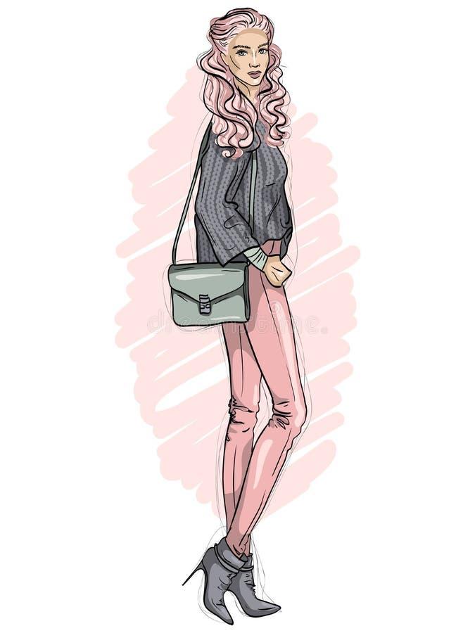 Vector das Hippie-Mädchen, das in den Jeans, Strickjacke, Halbstiefel mit Tasche über ihrer Schulter, Farbskizze gekleidet wird stock abbildung