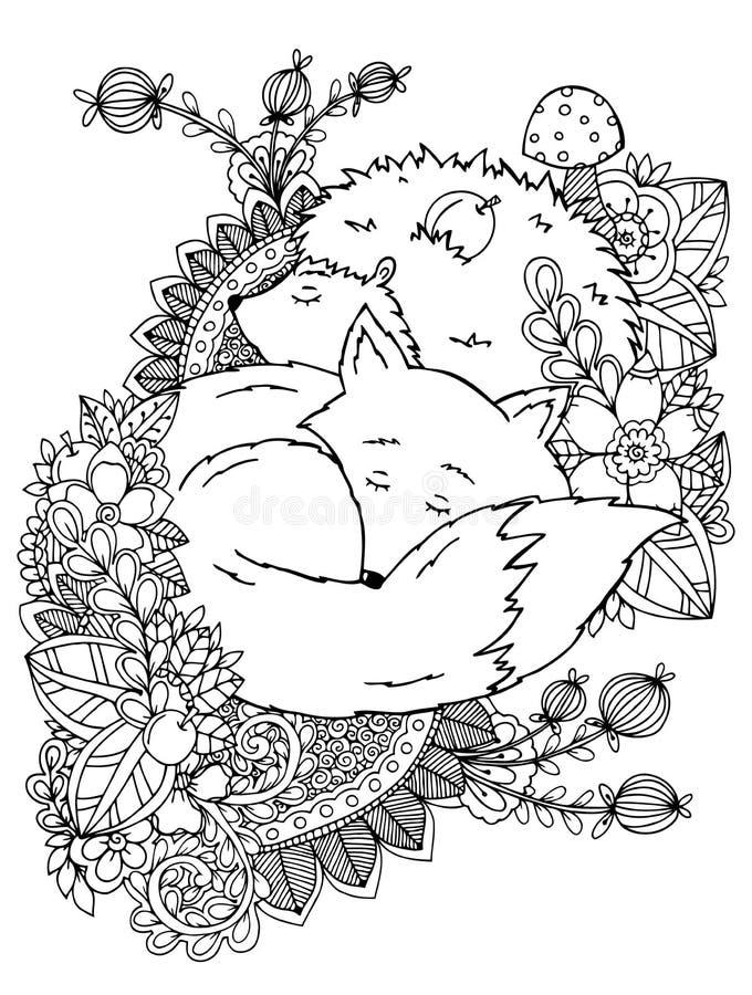 Vector das Illustrationszentagl, -igeles und -fuchs, die in den Blumen schlafen lizenzfreie abbildung