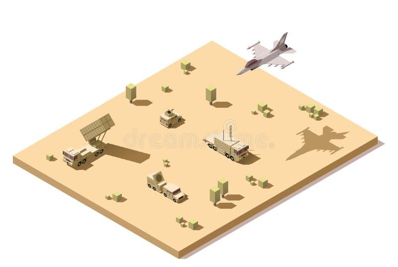 Vector das isometrische niedrige infographic Polyelement, das Militärboden-luft-raketen-Verteidigungssystem darstellt vektor abbildung