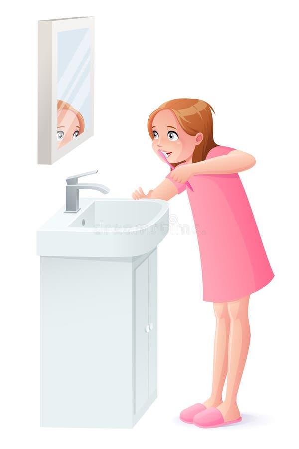 Vector das junge Mädchen, das ihre Zähne nahe bei Spiegel putzt lizenzfreie abbildung