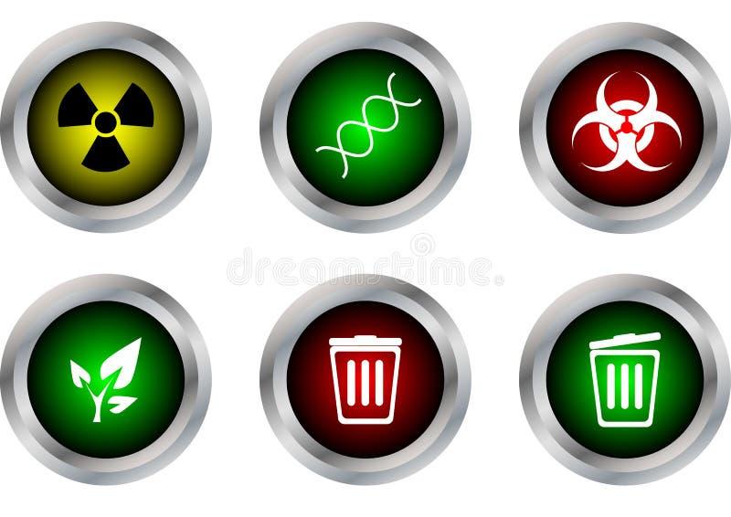 Vector das Knopfsymbol, radioaktiv, DNA, Biohazard, Ökologie, Behälter clos stock abbildung