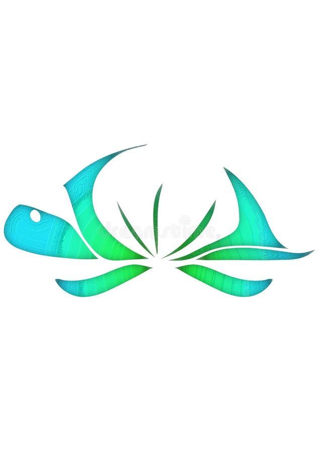 Vector das Logo der abstrakten Schildkröte lokalisiert auf weißem Hintergrund, das Konzept der Natur, ökologisch, Wellness, Umwel lizenzfreie abbildung