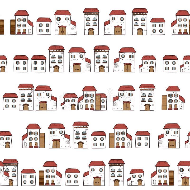 Vector das nahtlose Karikaturmuster, gemacht von den Sammlungshäusern in der alten europäischen Art weiße Fassaden und rote Däche stock abbildung
